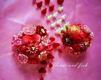 cosplay-hair flowerkanzashi flower set-red-Kimono hair pin kanzashi red, geisha hair flower, set of 2