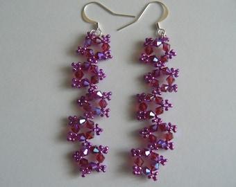 Earrings 5 stars fuchsia and purple