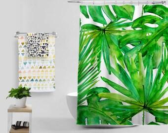 Nordic Tropical Plants Shower Curtain Creative Waterproof Anti-mildew Polyester Cloth Bathroom Curtain
