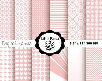 60% OFF SALE Baby Pink Digital Paper Pack, Scrapbook Papers, 12 jpg files 8.5 x 11  - Instant Download - D85