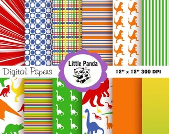 70% OFF SALE Dinosaurs Digital Paper Pack, Scrapbook Papers, 12 jpg files 12 x 12 - Instant Download - D98