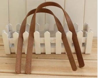 Two PCS / One Pair, Camel Rivets  Holes Geniune Leather Dermis Bag Purse Handle Drop 60 cm/ 23.6 inch Length
