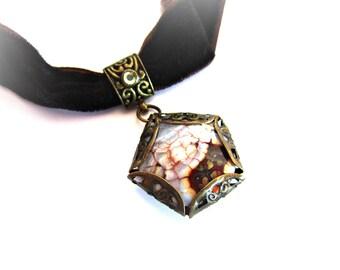 Velvet choker, brown velvet necklace, stone velvet choker necklace, fire agate pendant necklace, brown stone necklace