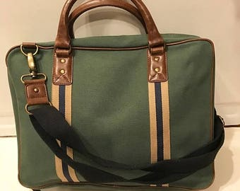 SUMMER  CLEARANCE SALE Vintage Green Canvas Briefcase/ Laptop Bag