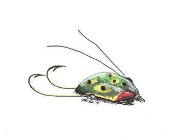 Bass lure fishing lure INSTANT DOWNLOAD ARTWORK pen and marker