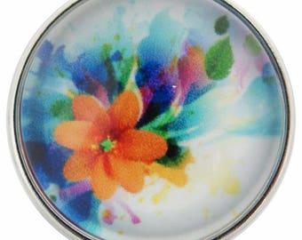 C0728 Art Glass Snap ~ Florescent Orange Flower in a Colorful Bouquet
