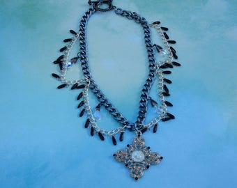 Crystal Droplet Cross Necklace
