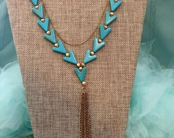 Long Turquoise Triangle Nacklace