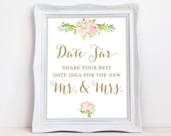 Date Jar Sign - Please share your best date idea for the new mr & mrs - INSTANT DOWNLOAD - Date Night Sign - Date Night Ideas The Colette