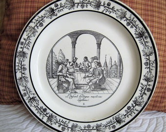 Antique French Transferware Plate Choisy Faience Fine Circa 1828
