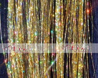 "20"" OR 40"" Hair Tinsel 100 Strands - Sparkling Gold"