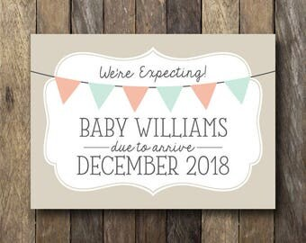 We're Expecting Announcement - Printable Announcement Card - We're Expecting