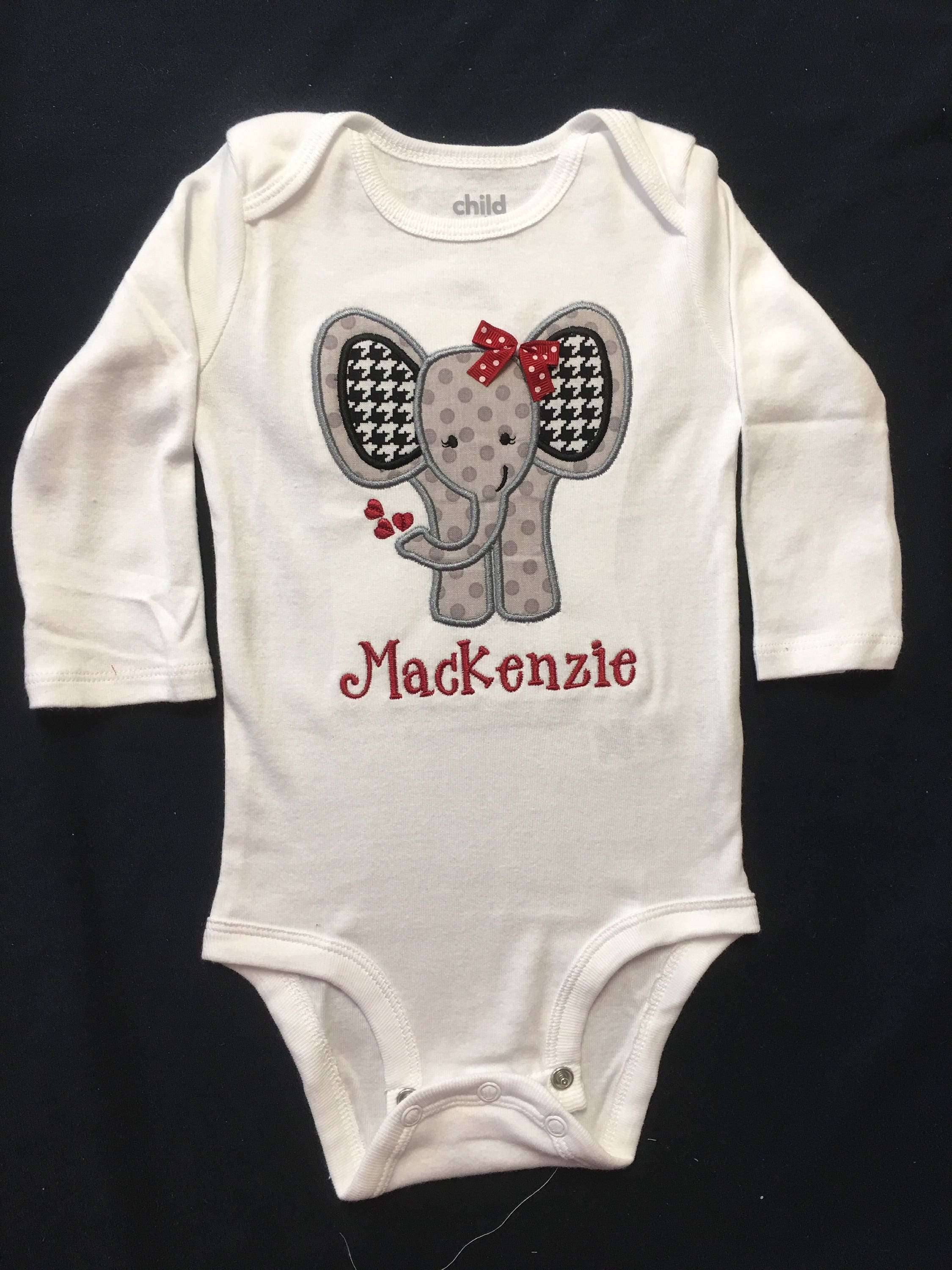 Baby Girl or Baby Boy Applique Body Suit Set with Appliqued Elephant