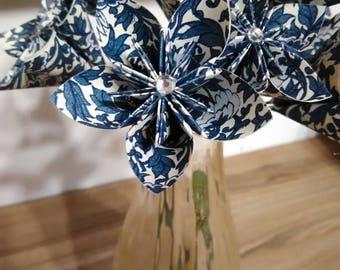 Blue Brocade paper flowers