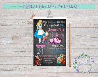 Alice in Wonderland Birthday Invitation, Alice in Wonderland Party Invitation, Invites, Digital File