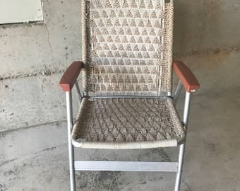 Vintage 1970s Macrame and Aluminum Folding Lawn Chair