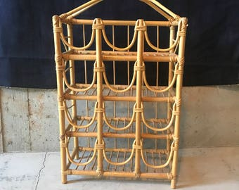 Vintage 1970s Bamboo and Rattan Tall Wine Rack