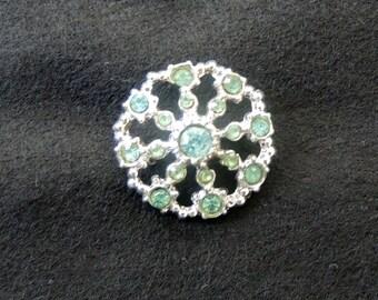 Pale Blue-Green Multi-Stone Vintage Rhinestone Pin