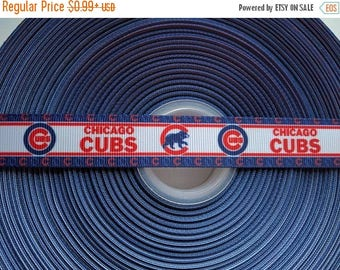 "FLASH SALE CHICAGO  Cubs 7/8"" 22mm Grosgrain Hair Bow Craft Ribbon 3182"