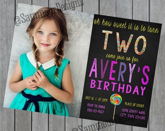 Candy Birthday Invitation - Candy Invitation - Girls Candy Birthday - Candy Birthday