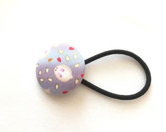 Hair elastic, Covered Button Hair Elastic, Japanese traditional pattern, Japanese gift, bunny, rabbit