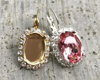 Rhinestone Earrings Settings Fits 14x10mm Oval Leverback Earrings 1 Pair, Silver / Gold Plated Clear Crystal Rhinestones Fits Swarovski 4120