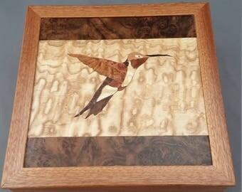 Hummingbird Marquetry Keepsake Box