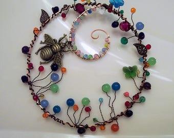Glass Suncatcher, Crystal Suncatcher, Bee and Butterflies Suncatcher, Window Decoration, Butterfly Decor, Window Decor, Window Art, Wire Art