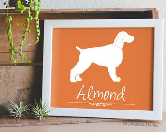 English Springer Spaniel, springer spaniel art, dog silhouette art, spaniel silhouette, digital dog print, dog memorial gift, dog wall art