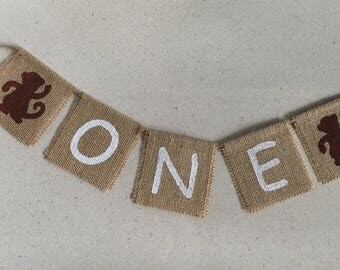 Cute ONE with MONKEY detail burlap banner, highchair photo prop.