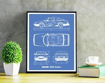 "Saab 900 Turbo Convertible Blueprint, Saab Cabriolet Decor, Instant Download, Saab 900 T, Blueprint art, Saab Decor, Saab 900, 8x10"", 11x14"""