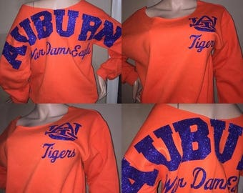 Auburn University Tigers glitter sweatshirt/ off the shoulder sweatshirts / HBCU glitter sweatshirts/ HBCU custom/ Tigers