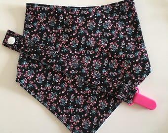 Black Floral Baby Bandana Bib and Pacifier Clip Set