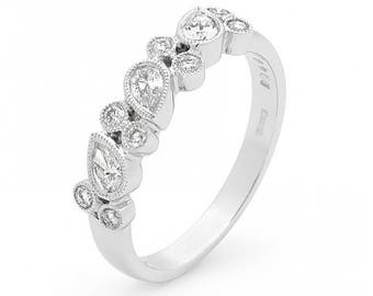 18ct White Gold Diamond Milgrain Eternity Ring