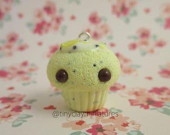 Lemon poppy sead cupcake polymer clay charm