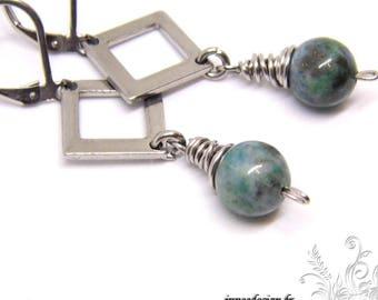 Azurite chrysocolla and diamond earrings