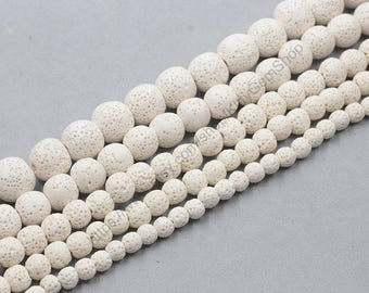 Dyed Natural Lava Beads Full Strand 15.5 inch Round White Volcanic Rock Gemstones wholesale mala 6mm 8mm 10mm 12mm 14mm MHA-169