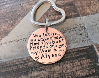 Personalized Keychain Gifts For Mom | We Laugh Keychain | Gifts For Grandma | Mom Keychain Copper Keychains For Mom | Gift For Mom