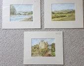 Three Scottish Art Prints with Mounts