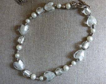 Murano Glass White Hearts Necklace