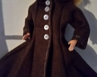 """B 025  Handmade for Barbie and other 11 1/2"""" fashion doll  60's Style Brown Cotton Coat with Collar and Button Accents."""