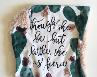 She is Fierce Cactus lovey security blanket minky girl nursery, girl baby shower gift,  nursery, cacti nursery, succulent lovey blanket