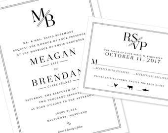 Modern and Geometric Wedding Invitation | Graphic and Bold Wedding Invitation | DIY Option Available | Invitation | RSVP | Info Card #1220