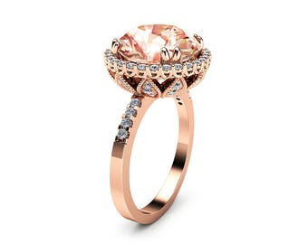 Unique 5.6CT Morganite Engagement Ring 14K Rose Gold Morganite Ring Halo Diamond Engagement Ring