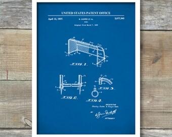 Soccer Goal Patent Print, Soccer Poster, Soccer Art, Sports Decor, P561