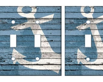 Nautical anchor light switch plate cover // rustic blue distressed white // SAME DAY SHIPPING !!  **