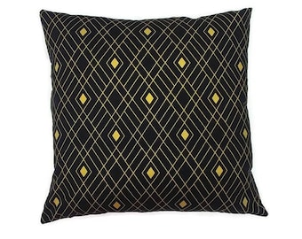Black and Metallic Gold Diamond-Invisible Zipper Pillow Cover Gray-Bedroom-Living Room-Party-RV-Nursery-Boat-Decor
