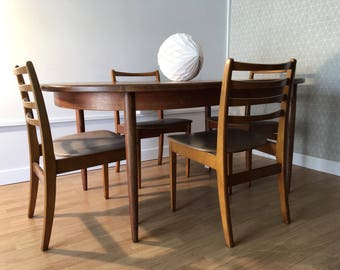 Teak Extending G Plan Butterfly Dining Table & Four Chairs Mid Century Design 1960s 1970s