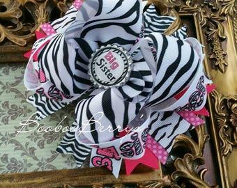 Big sis hair bow, stacked hair bow, big sister hair bow, pink and zebra, pink and black hair bow, large hair bow, large stacked hair bow