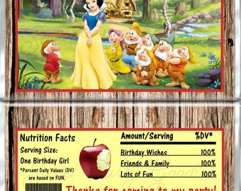 Set of 12 -  Snow White Themed Birthday Candy Bar Wrappers - Personalized Birthday Party Favors - Chocolate Bar Favors